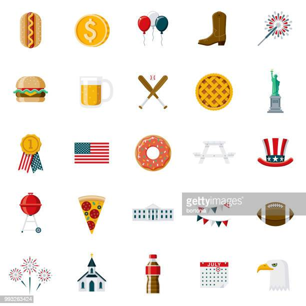 flat design usa icon set - apple pie stock illustrations