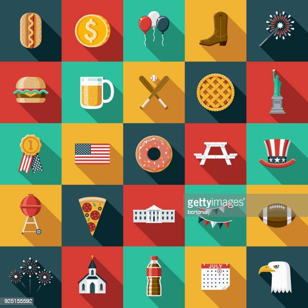 flat design usa icon set with side shadow - werkzeug stock illustrations