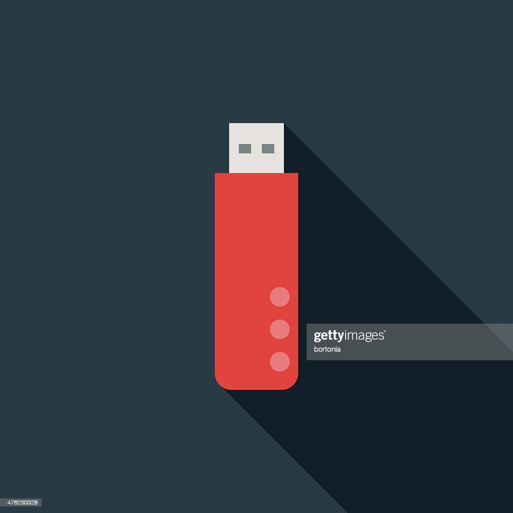 Flat Design USB Flash Drive Icon With Long Shadow