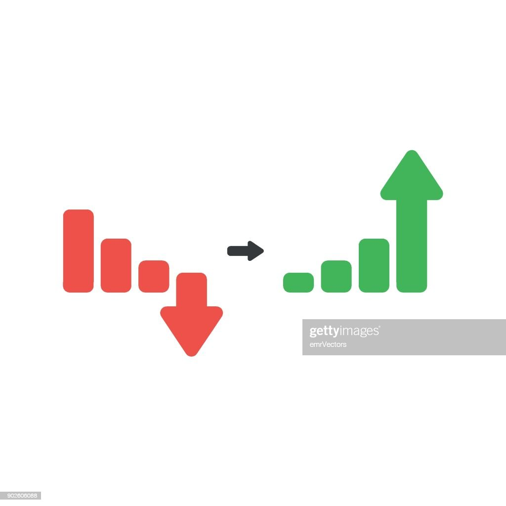 Flat design vector concept of red and green sales bar chart with arrow, moving down and up