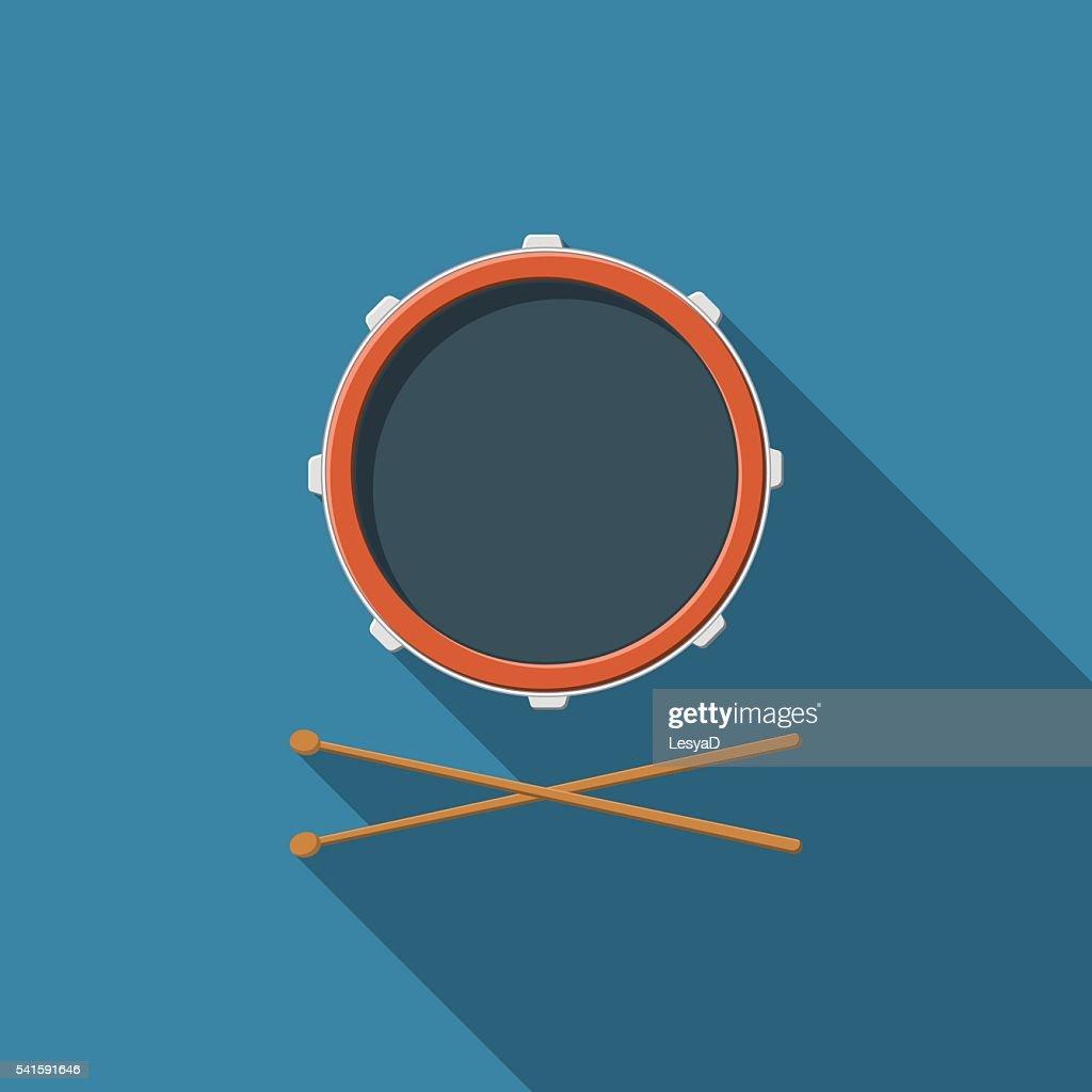 Flat design vector drum and drum sticks icon