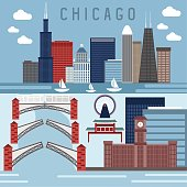 Flat design vector horizontal banners with landmarks of Chicago