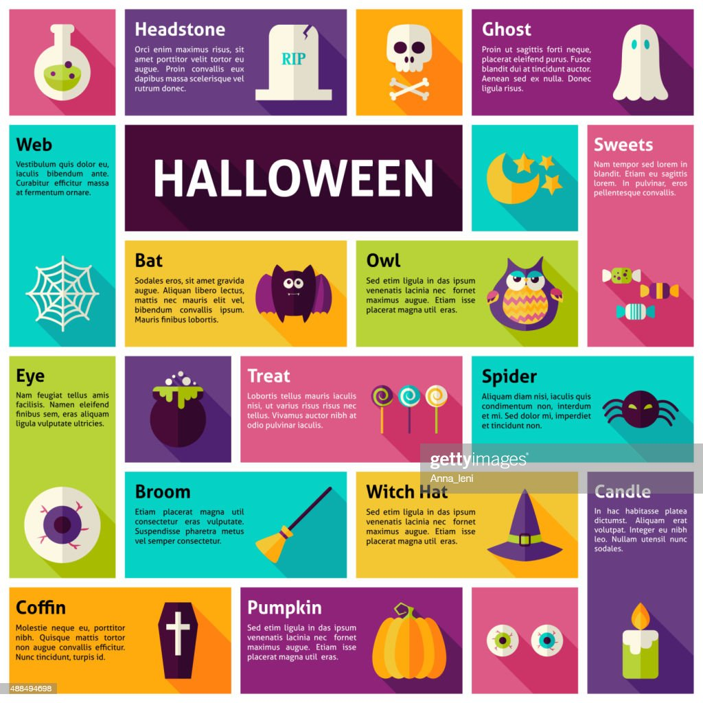 Flat Design Vector Icons Infographic Halloween Holiday Concept