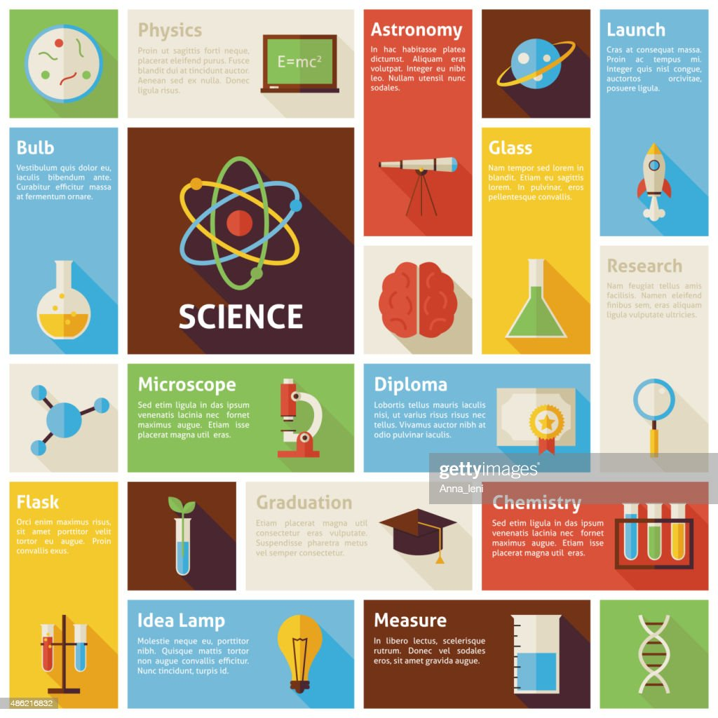 Flat Design Vector Icons Infographic Science and Education Conce
