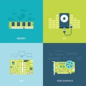 Flat design vector illustration concept computer spare parts electronics. Memory chips, ssd, hdd, video card graphics. Big flat icons collection.