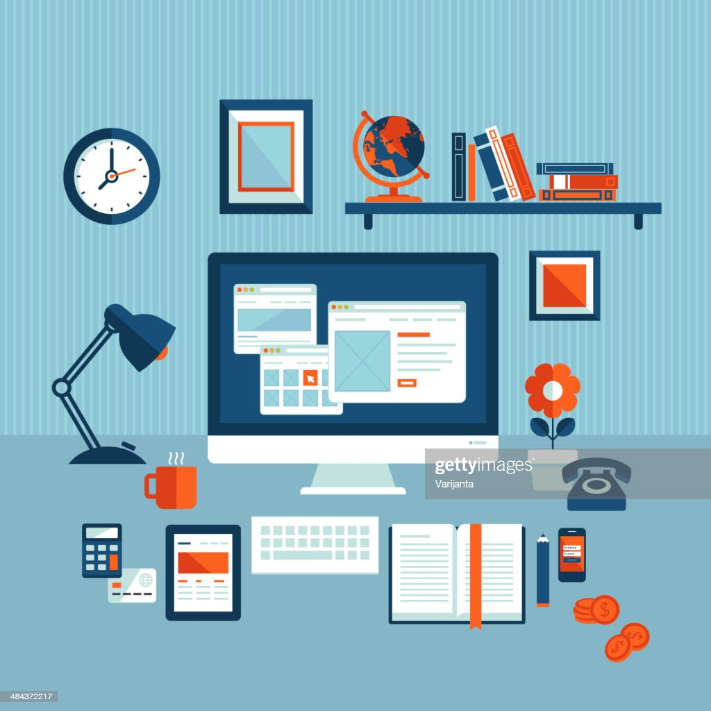 Flat design vector illustration concept of modern business workspace