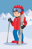 Flat design vector illustration of little boy from the mountain