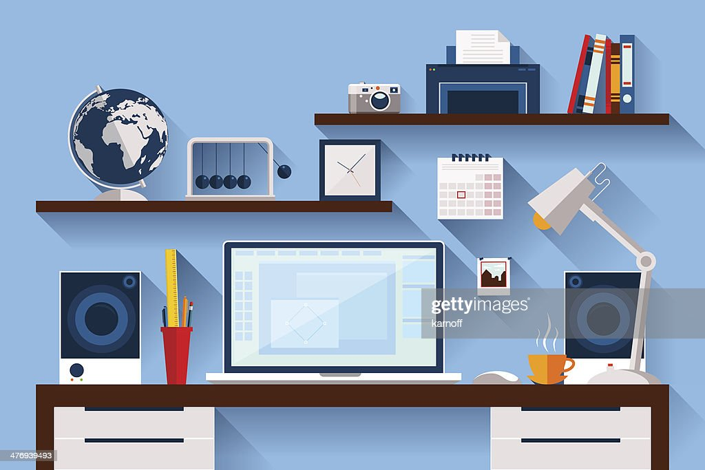 Flat design vector illustration of modern creative office workspace