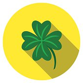 Flat design vector lucky clover icon with long shadow, isolated
