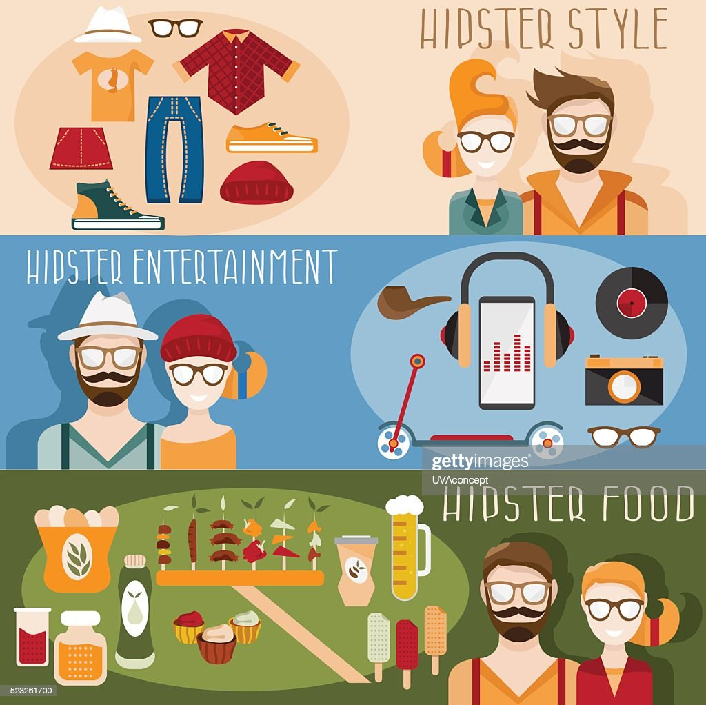 flat design vector mini banners with hipster theme
