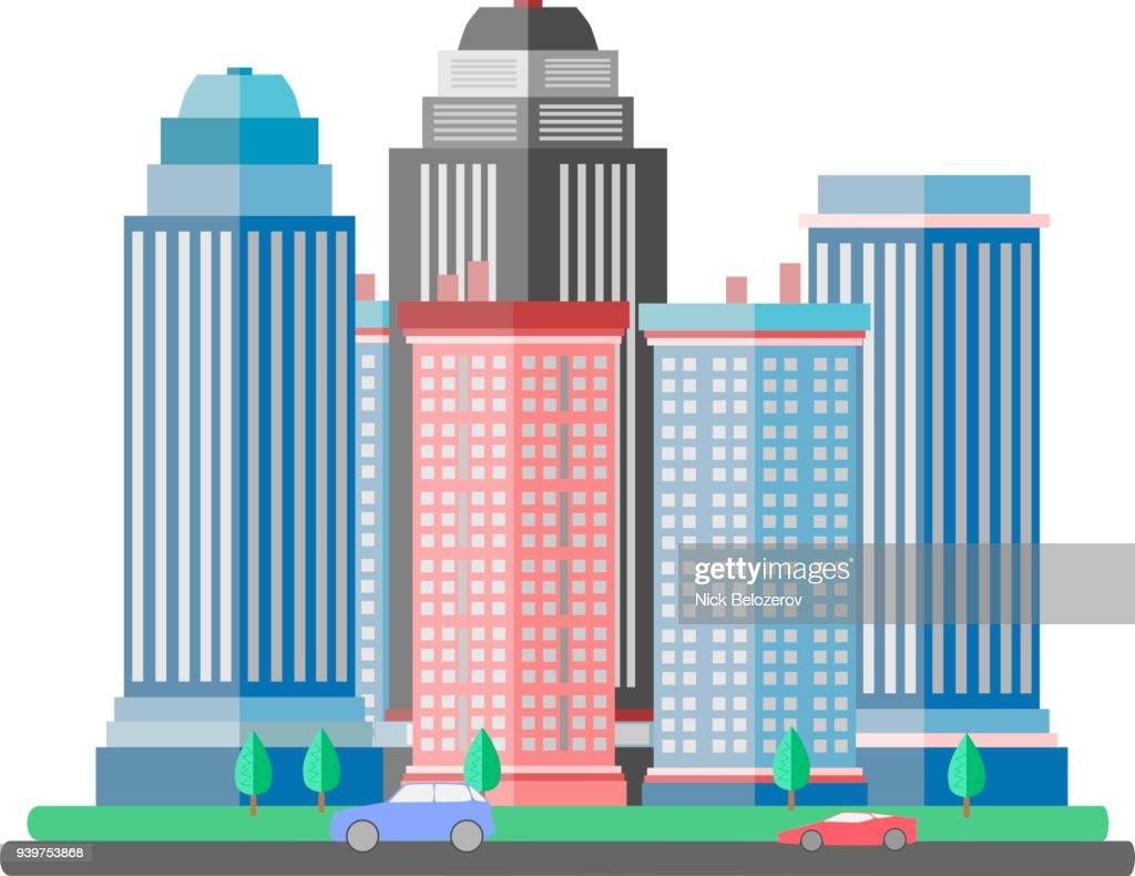 Flat Design Vector Urban Landscapes, modern city