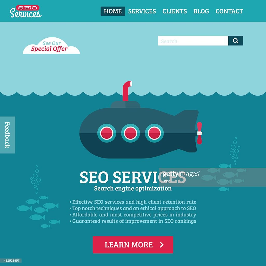 Flat design vector website template of SEO with cartoon submarine