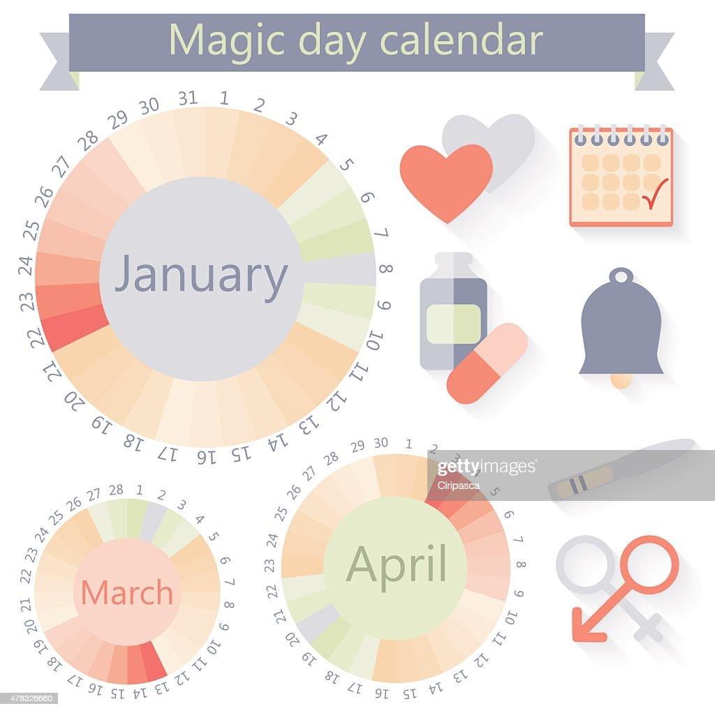 Flat design, vector woman's calendar and fertility icons