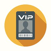 Flat Design VIP Badge Icon With Long Shadow