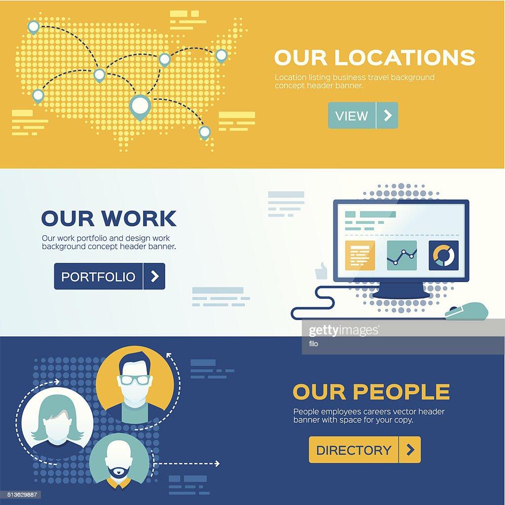 Flat Design Web Headers : stock illustration