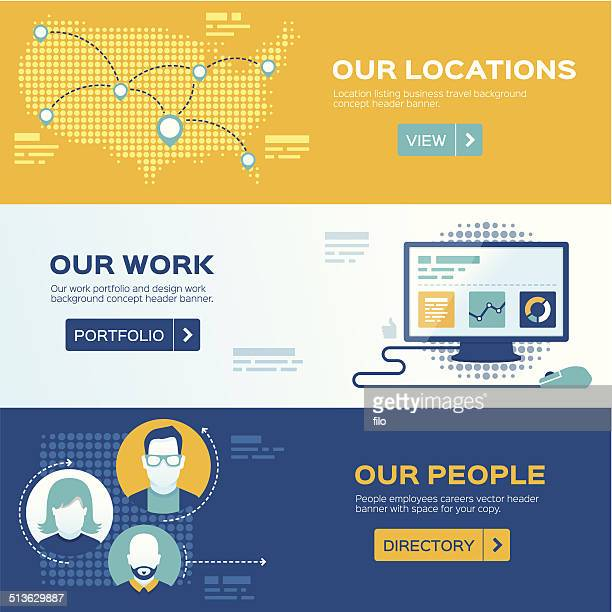 flat design web headers - online advertising stock illustrations, clip art, cartoons, & icons