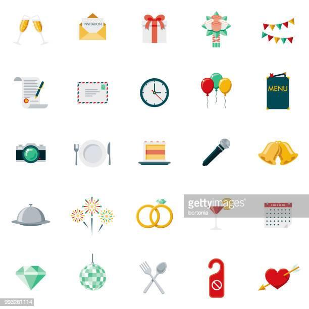 illustrations, cliparts, dessins animés et icônes de design plat mariage icon set - bouquet de fleurs