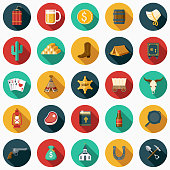 Flat Design Western Icon Set with Side Shadow