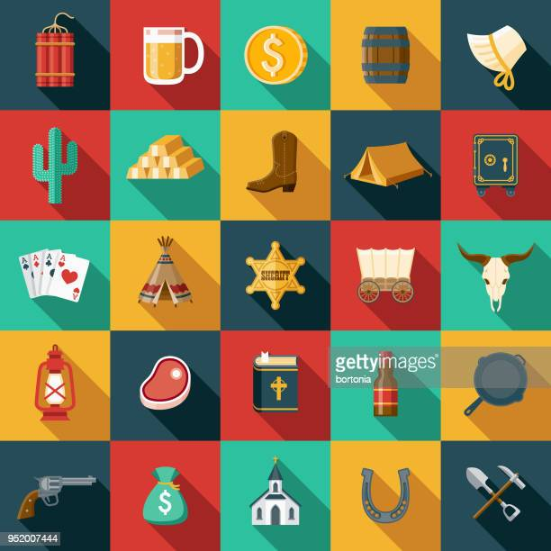 flat design western icon set with side shadow - wild west stock illustrations