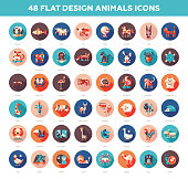 Flat design wild and domestic animals icons set