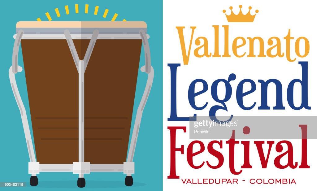 Flat Design with Caja and Sign for Vallenato Legend Festival