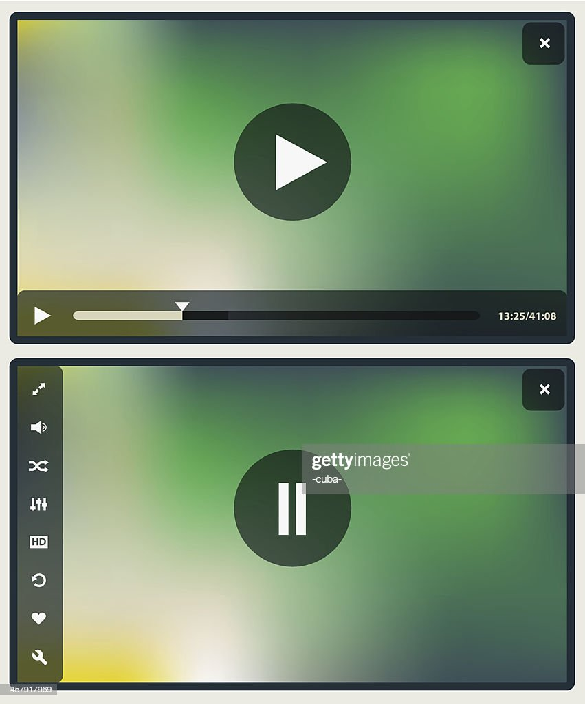 Flat design with two media player screens