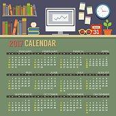Flat Design Workspace 2017 Printable Calendar Starts Sunday.