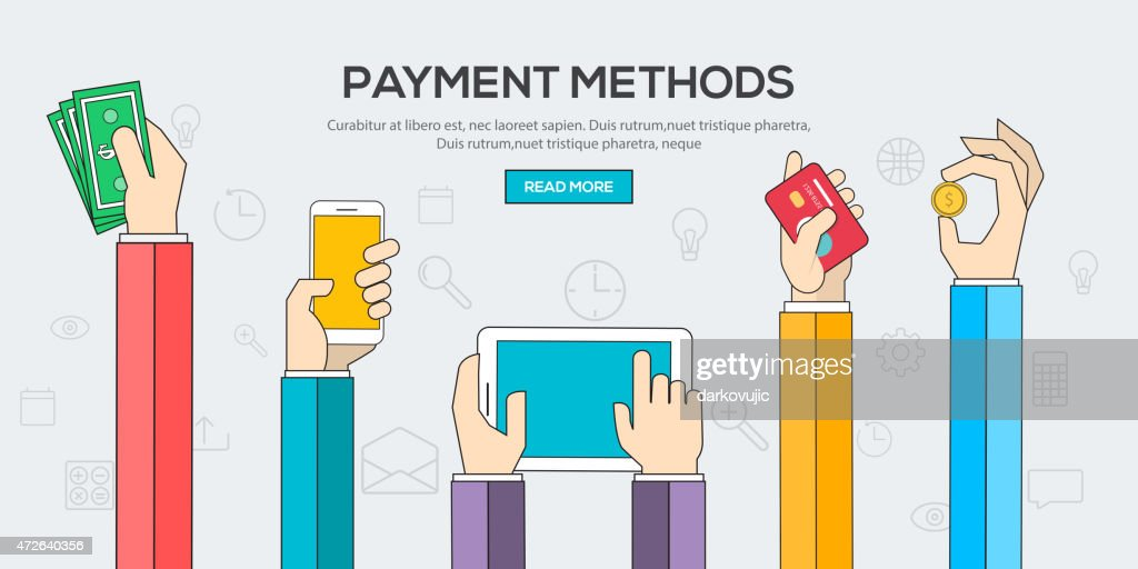 Flat designed banners exhibiting payment methods