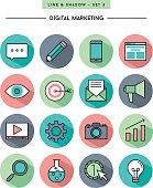 flat design,long shadow, thin line digital marketing icons