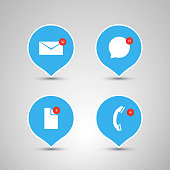 Flat Designs with Envelope, Speech Bubble, File and Phone - Mobile App Icon Set