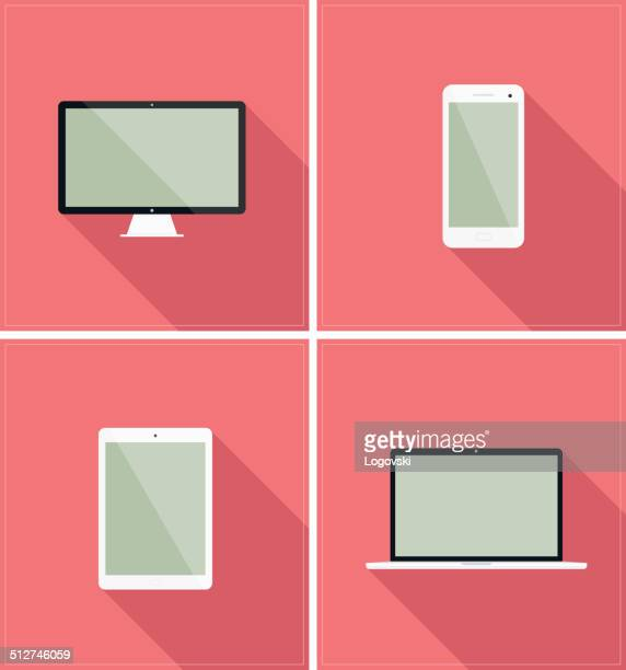 flat devices - digital tablet stock illustrations