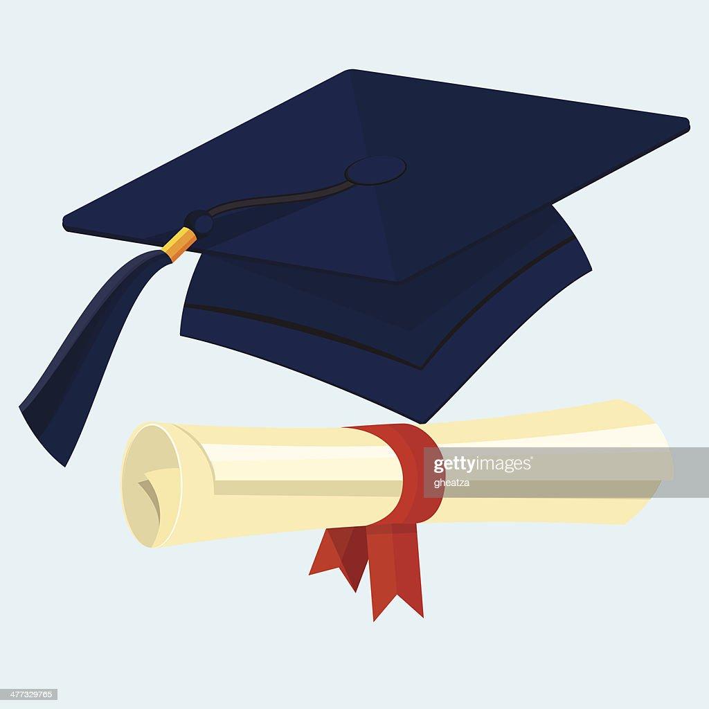 Flache Graduation Cap Und Diplom Vektorgrafik   Getty Images