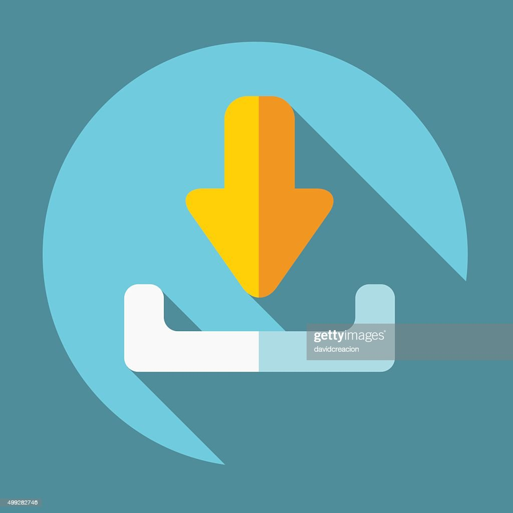 Flat Download Icon with Shadows on a Circular Button.