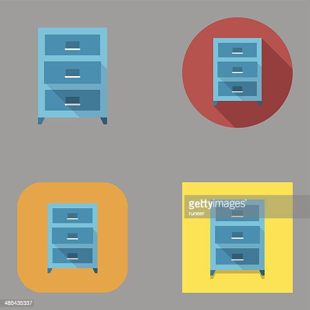 flat drawer icons | kalaful series - filing cabinet stock illustrations, clip art, cartoons, & icons