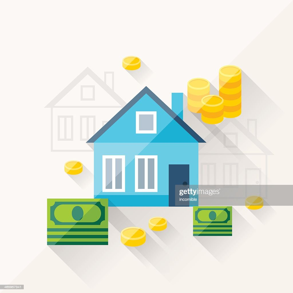 Flat drawing of houses and money