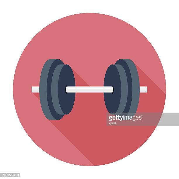 flat dumbbell icon - weight training stock illustrations
