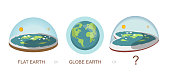 Flat earth ,globe, earth, Heart shaped earth, concept illustration. Ancient cosmology model and modern pseudoscientific conspiracy theory. Isolated vector clip art