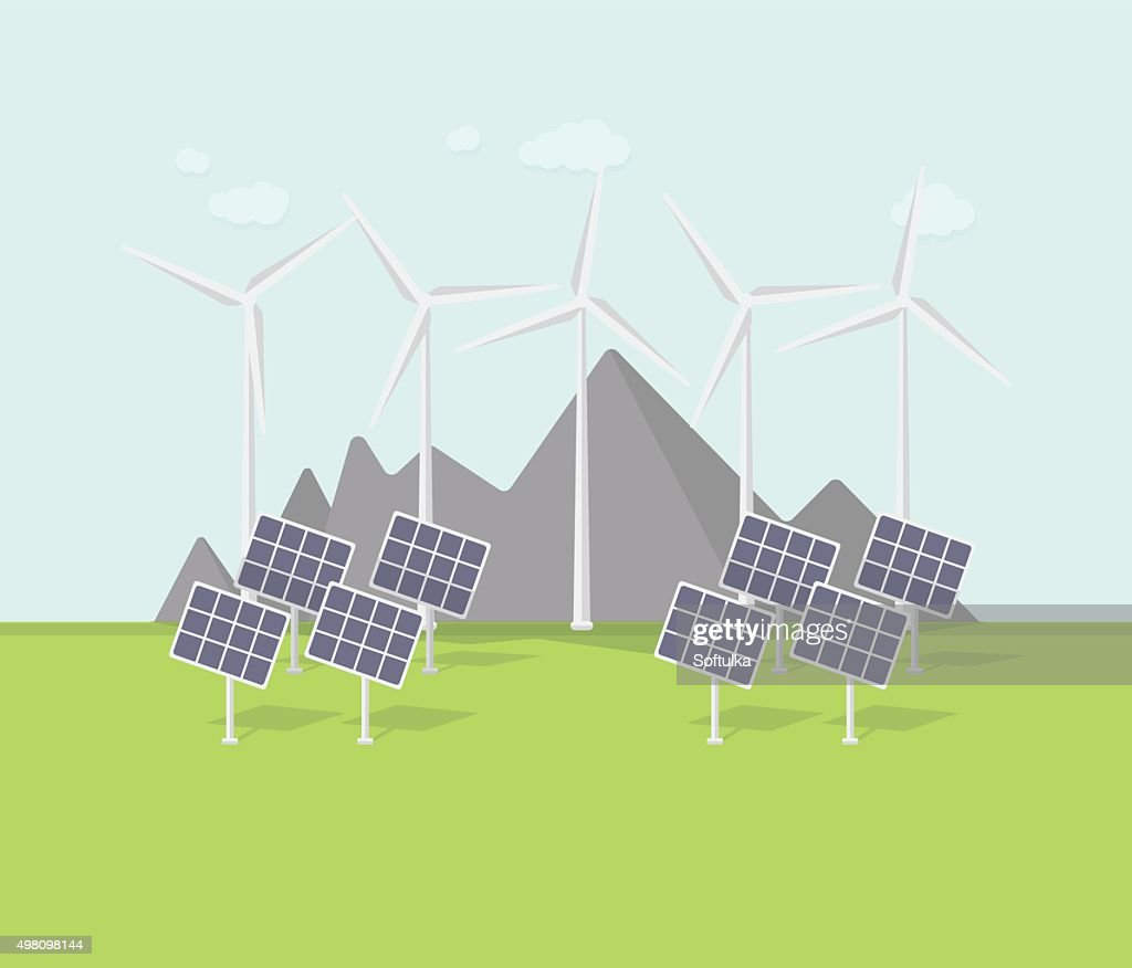 Flat Eco Design Rural Landscape With Windmill Solar Panels Mountains