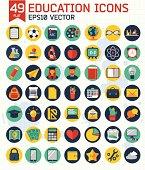 Flat education icons set