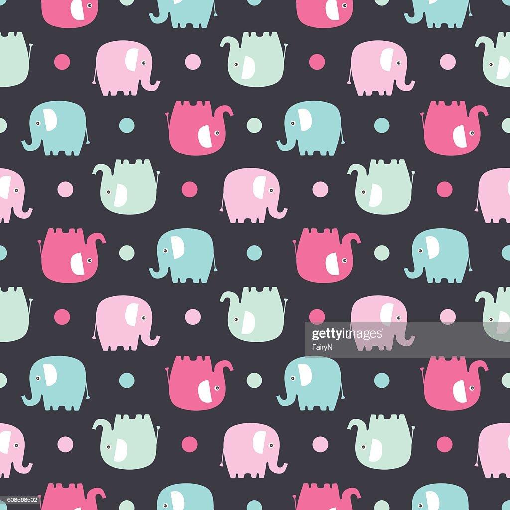 flat elephant pattern