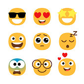flat emoticons faces simple happy funny