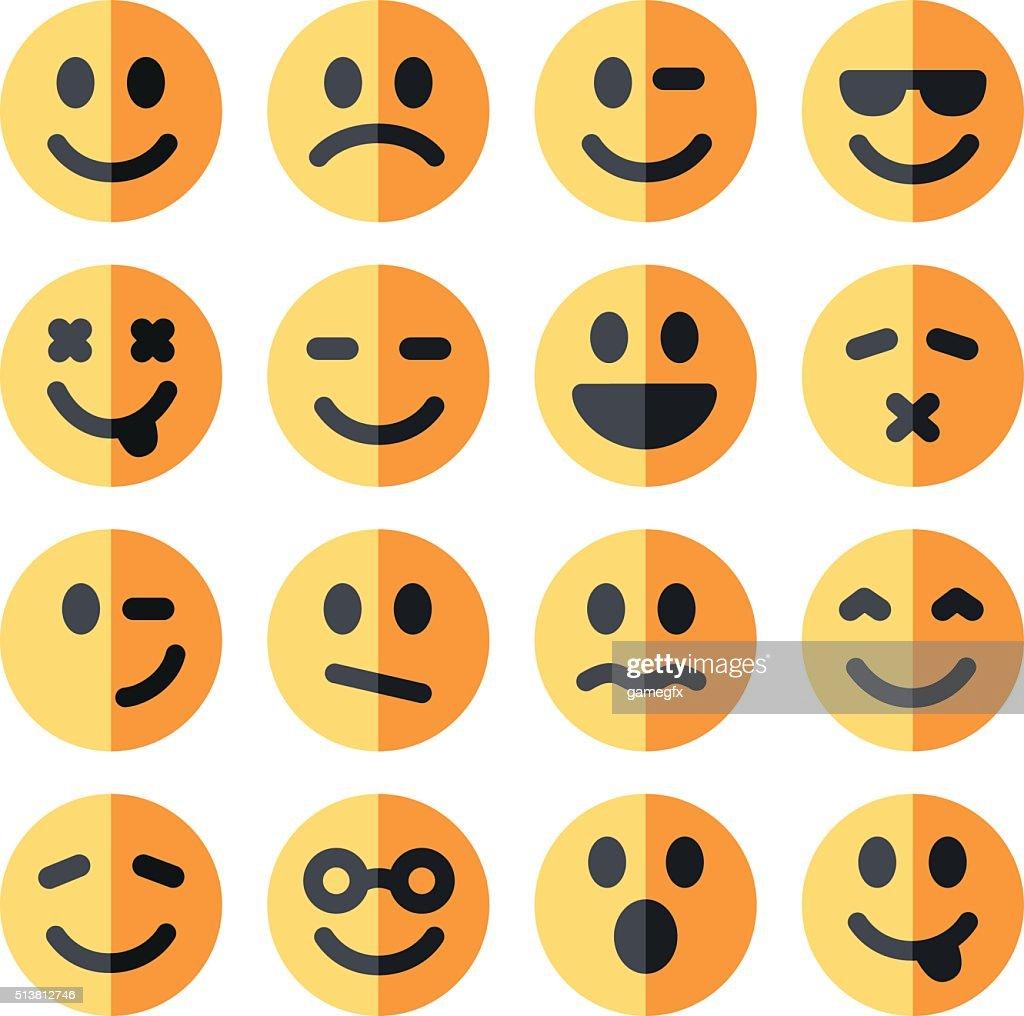 flat emotional emoji square faces icon