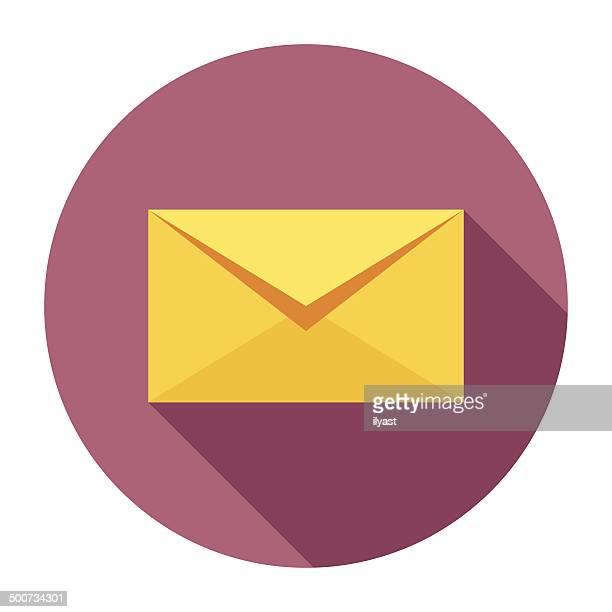 ilustrações, clipart, desenhos animados e ícones de plana ícone de envelope - correio correspondência