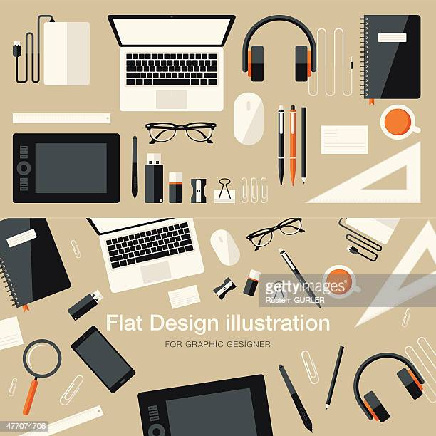 flat equipments for graphic designer - usb cord stock illustrations, clip art, cartoons, & icons
