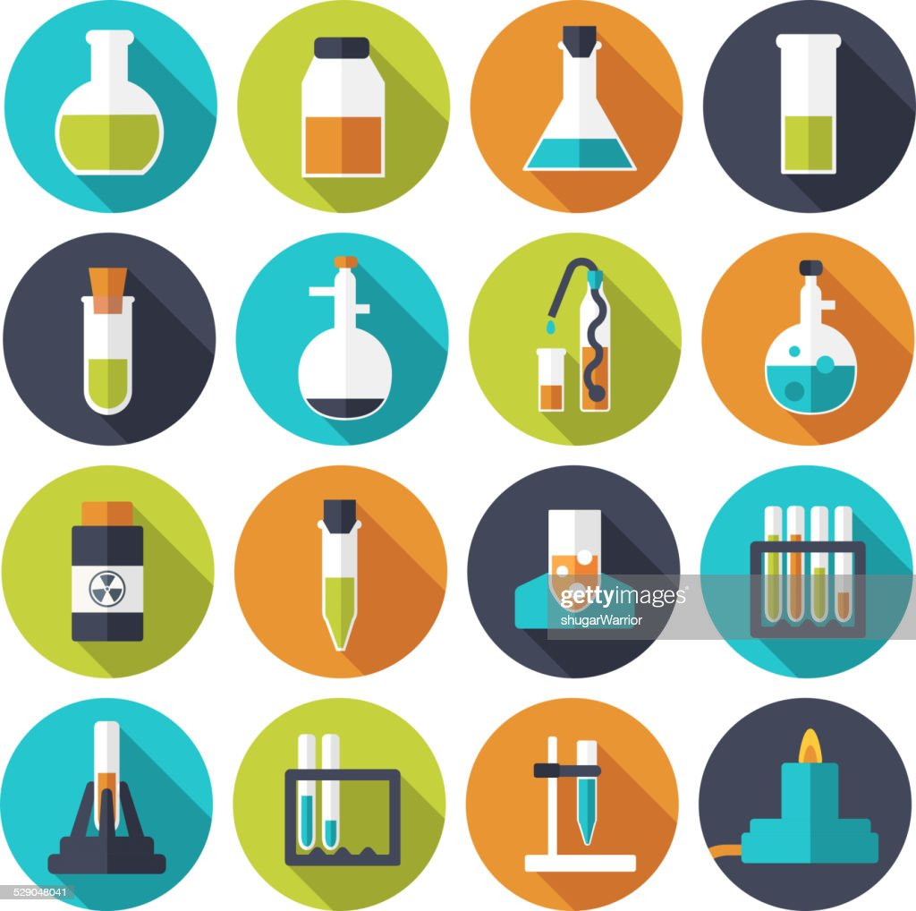 Flat experiments in a chemistry laboratory icons set concept