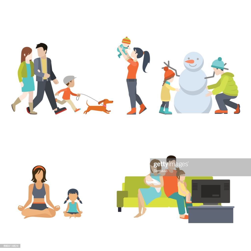 Flat Family having fun, making snowman and gymnastic exercises, walking with dog, watching TV vector illustration set. Casual life parenting concept.