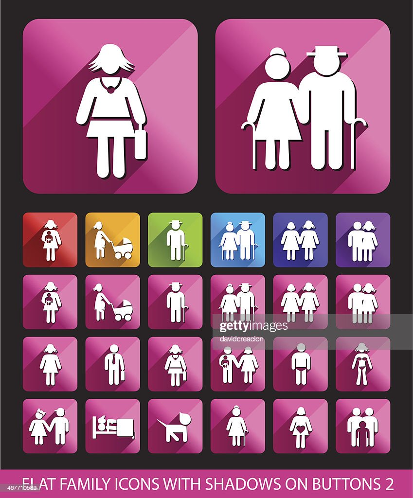 Flat Family Icons with Shadows.