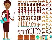 Flat female teacher or professor character creation vector constructor