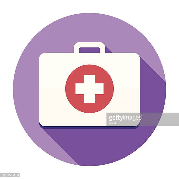 flat first aid kit icon - head above water stock illustrations