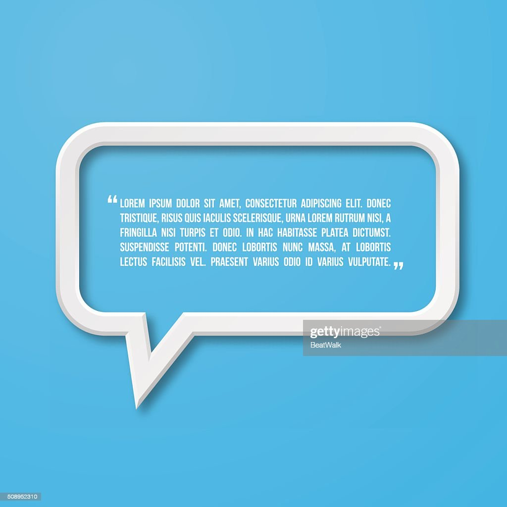 Flat frame speech bubble icon for text quote